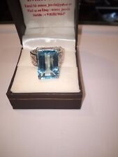 925 Sterling Silver Natural Gem Stone Blue Topaz Ring Jewelry For Men & Women 8