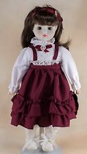 "Vintage Brinn's Musical Porcelain Girl Doll 14"" 1986 With Box and COA"