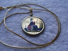 """UK Red White Blue & Gold English Enameled Penny 24"""" 18K Gold Filled Chain"""