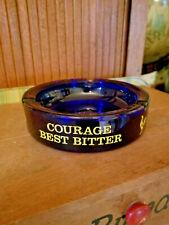 Vintage Courage Best Bitter with Rooster emblem Ash Tray Ashtray Cobalt Blue