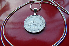 "Republic of Argentina Horse & Rider Coin Pendant on a 30"" 925 Silver Snake Chain"