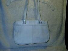 Vintage White Leather Shoulder Handbag 2 Outer Pockets Lined Zipper Close Korea