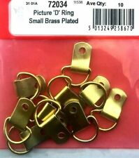 6 x Small Brass Picture D Rings Picture Hooks Mirror Frame Hanging 25mm - W290