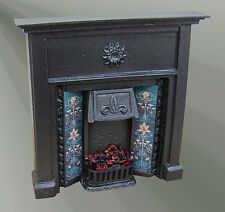 The Abbey Cast Iron Finish Fireplace  F14C, Dolls House Miniature 1,12th Scale