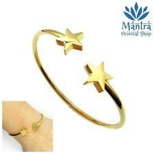 Bracciale donna semirigido in acciaio stella stelle oro braccialetto da con inox