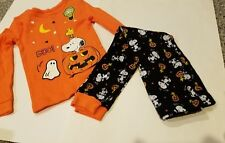 Toddler Girls Peanuts Brand 2 Piece Halloween Glow Dark Pajamas 2T 3T 4T 5T