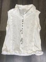 Women's Elisa Cavaletti White Sleeveless Vest Blouse Top Made In Italy Size L