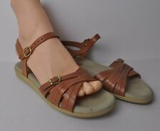 VILLAGE AIRES Brown Leather sandals Buckle Strap Shoes made in Italy Size 8 EUC