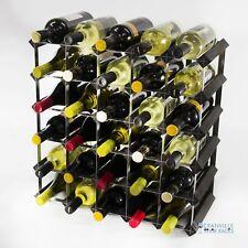 Cranville Botellero Almacenaje Botella 30 Negro Madera y Metal Montado