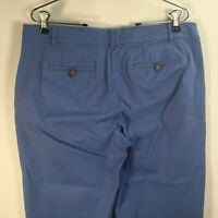 Talbots Women's Size 8 The Weekend Chino Blue Flat Front Cotton Blend W 32 x L28