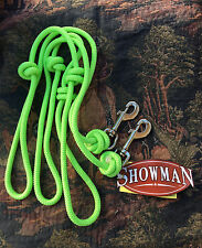 Lime Green Round Knotted Roping Barrel Contest Reins w/ Clips FREE SHIPPING