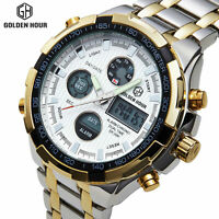 GOLDEN HOUR Mens Sports LED Watches Stainless Steel Analog Quartz Wristwatch 108