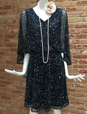 Pisarro Nights Navy Sequin Flapper Gatsby 1920s Charleston Party Dress UK 8