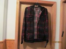 Long Sleeve Full Zip Hoodie Sweatshirt MD Hawk Black Red Plaid& Check NWT