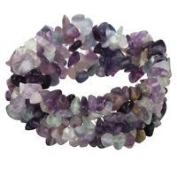 "Fluorite Stretch Cuff Bracelet Chakra Handmade Jewelry Gifts Women Mom 7.5"""