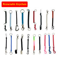 Spiral Retractable Spiral Stretchy Elastic Coil Keyring Key Chain Ring Plastic