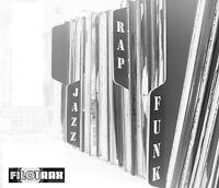 "20 x Vinyl LP 12"" Record Dividers [Black] Premium Index Tabs by Filotrax"