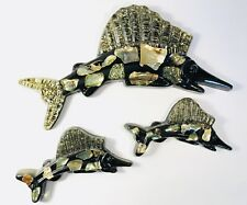 Vintage Swordfish Decor Black Abalone Mother of Pearl Inlay 12� Nice Set of 3