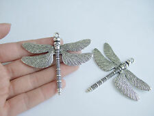 3 Large Dragonfly Charms Pendants Antique Silver Jewellery Making Findings 72mm