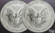 Lot of 2 American Silver Eagles **BU .999 fine, Pure Silver, Pure American**