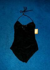 SEXY BLACK SHINY HEART BUCKLE 1-PIECE SWIMSUIT SWIM SUIT SIZE 7 - 9 MEDIUM NWT