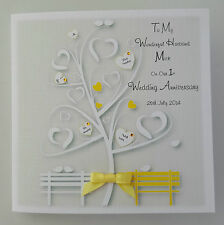 Personalised On Our 1st Wedding Anniversary Card Husband Wife ANY COLOUR OR YEAR