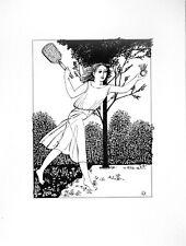 """""""Badminton"""", Tuschezeichnung, Original"""