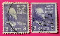 1938 THOMAS JEFFERSON VINTAGE U.S. 3 Cent Stamp Lot *RARE 2 STRAIGHT EDGES* (NM)