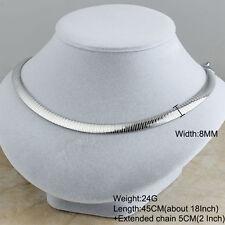 Women's Stainless Steel Elegant Silver Collar Choker Fashion bib Necklaces 8MM