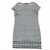 TALBOTS Women's Short Sleeve Navy And White Stripped Dress Size LP