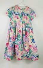 Girls 8 Dress Tea Pink 80s Floral Vtg 90s Modest Lace Bow Church Easter Party
