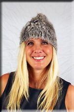 New Silver Knit Rabbit Fur Beanie Hat Efurs4less