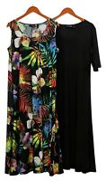 Attitudes by Renee Petite Dress PXL Set Of 2 Printed & Solid Maxi Black A375422