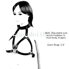 Women Sexy Faux Leather Open Cup Cupless Chest Bra Top Body Harness Collar strap