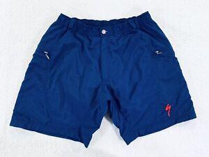 "Vtg Specialized Nylon Mountain Bike Shorts with Lining Blue 10"" Mens Size Large"