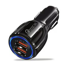 QUALCOMM QC 3.0 CERTIFIED QUICK CHARGE DUAL 2 USB PORT FAST CAR CHARGER BLACK