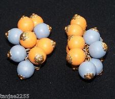 50er Jahre Ohrringe Clips Vintage Blau/Orange Modeschmuck (689)