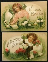 ~Lot of 2 Victorian Children in Eggs with Flowers~Antique Easter Postcards-p67