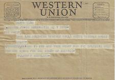 1950 WESTERN UNION TELEGRAM SENATOR WILLIAM F KNOWLAND CA TED MACK AMATEUR HOUR