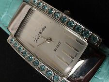 "Fred Belay Ladies Watch Green Stone bezel & Green Leather 7"" Band Very nice A+"