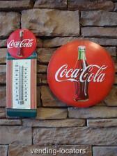 Coca Cola Thermometer & COKE Button Advertising Home Decor Bottle Signs