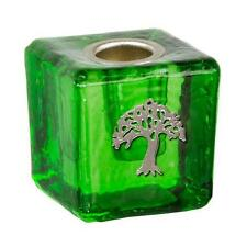 Green Tree of Life Glass Mini Candle Holder