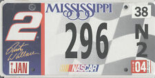 NASCAR CAR LICENSE PLATE TAG RUSTY WALLACE NUMBER 2 INDY 500