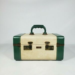 Vintage Train Case with KEY Green Off White 1940s 1950s Suitcase Luggage
