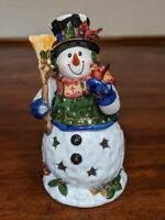 Kmart Ceramic Christmas Holiday Snowman Tealight Candleholder Collectable Decor