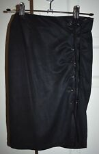 Women's Who I Am Branded Black Faux Suede Material Lace Up Mini Skirt Size 6
