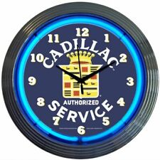 "Cadillac Auth Service Blue Neon Hanging Wall Blue Clock 15"" Diameter 8CADSR"