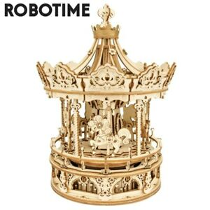 Robotime 3D Wooden Puzzle Mechanical Music Box DIY Assembly Toys Model Gifts