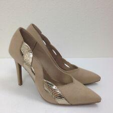 613b4301c6c Zapatos de Vestir para mujer de tela de oro Fioni Beige Bronceado Stiletto  Tacón Zapatos de salón talla 7