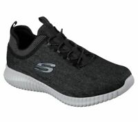 Skechers Black Gray Wide Fit Shoes Mens Comfort Slip On Casual Memory Foam 52642